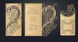 Поздравительная открытка шаблона для вырезывания лазера Openwork отрезок от бумаги, картона для свадьбы, пасхи, дня рождения Карт иллюстрация вектора