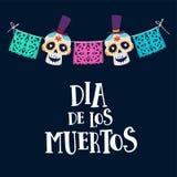 Поздравительная открытка Dia de Лос Muertos, приглашение Мексиканский день умерших Украшение строки с флагами партии и ornametal иллюстрация штока