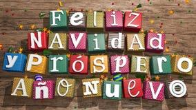 Поздравительная открытка: Prospero Ano Nuevo, веселое рождество и зажиточный Новый Год Feliz Navidad y в испанском языке иллюстрация штока