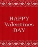Поздравительная открытка ` s валентинки на картине knit безшовной Вектор Illust Стоковые Фото