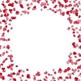 Поздравительная открытка ` s валентинки с летать красные сердца и место для текста вектор бесплатная иллюстрация
