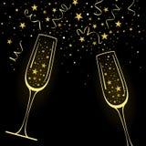 Поздравительная предпосылка с декоративными стеклами Шампань и иллюстрация штока
