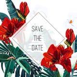 Поздравительную открытку с зелеными листьями ладони и экзотическими красными тропическими цветками лилий, можно использовать как  иллюстрация вектора