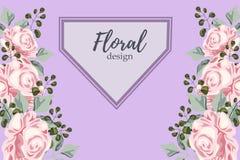 Поздравительную открытку с розами, акварель, можно использовать как карточка приглашения на wedding, день рождения и другой празд иллюстрация вектора