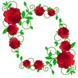 Сеть Поздравительную открытку с розами, акварель, можно использовать как карта приглашения для свадьбы, дня рождения и других пра иллюстрация штока