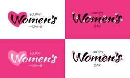 Поздравительные открытки дизайна дня женщин и типографская литерность изолированные на белой и розовой предпосылке с сердцем и цв Стоковое Фото