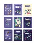 Поздравительные открытки летних отпусков, перемещения и рыбной ловли установили иллюстраций вектора, элемента дизайна для знамени Стоковые Изображения