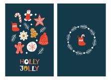 Поздравительные открытки рождества с печеньями пряника иллюстрация штока