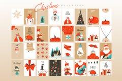 Поздравительные открытки шаблон и предпосылки иллюстраций мультфильма времени веселого рождества потехи конспекта вектора руки вы иллюстрация вектора