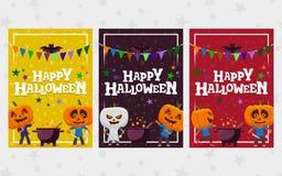 Поздравительные открытки Halloween Комплект знамени в плоском стиле Человек с иллюстрацией вектора головы тыквы плоской праздничн Стоковое Фото