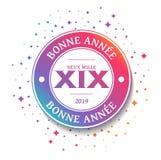 2019 поздравительных открыток - С Новым Годом! - французских иллюстрация вектора