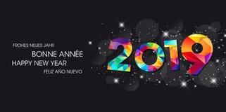 2019 поздравительных открыток - С Новым Годом! иллюстрация штока