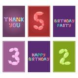 Поздравительые открытки ко дню рождения английского воздушного шара красочные vector тип шарж озона партийного просвещения праздн иллюстрация вектора