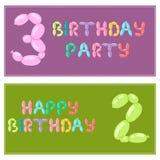 Поздравительые открытки ко дню рождения английского воздушного шара красочные vector тип шарж озона партийного просвещения праздн иллюстрация штока
