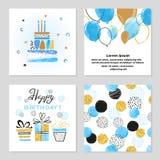 Поздравительые открытки ко дню рождения с днем рождений установили в голубые и золотые цвета иллюстрация штока