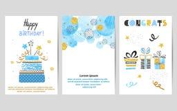 Поздравительые открытки ко дню рождения с днем рождений установили в голубые и золотые цвета иллюстрация вектора