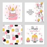 Поздравительые открытки ко дню рождения с днем рождений установили в розовые и золотые цвета иллюстрация штока