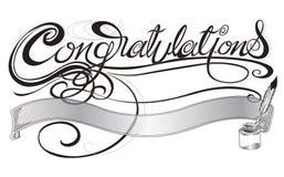 Поздравления с серым цветом дизайна ручки quill и знака или карточки чернил Стоковые Изображения