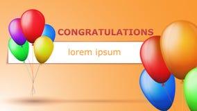 Поздравления чешут с воздушными шарами Стоковое Изображение