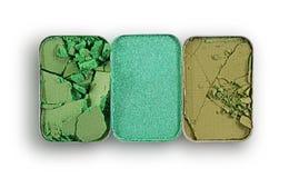 Позеленейте задавленные тени для век для составьте как образец косметического продукта Стоковые Фотографии RF
