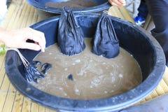 Позем Earthworm заквасил воду в ферме, vermi-компост, vermiculture стоковая фотография