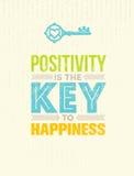 Позитивность ключ к счастью Милая цитата мотивировки Концепция плаката оформления вектора выдающая бесплатная иллюстрация