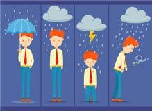 позиция 4 бизнесмена на дождливый день, различного чувства работника офиса на дождливый день иллюстрация штока