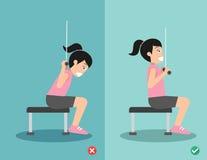 Позиция женщины неправильная и правая lat pulldown, иллюстрация вектора Стоковое Изображение