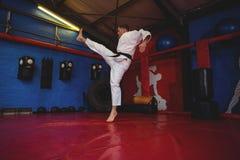 Позиция карате игрока карате практикуя стоковая фотография rf
