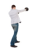 позиция перчаток бой бизнесмена бокса Стоковое Изображение RF