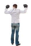 позиция перчаток бой бизнесмена бокса Стоковые Изображения RF