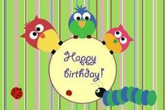 поздравительая открытка ко дню рождения птицы Стоковое Изображение