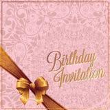 поздравительая открытка ко дню рождения и карточка приглашения с розовым вектором предпосылки цвета конструируют Стоковые Фотографии RF