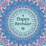 Поздравительая открытка ко дню рождения мандалы Стоковое фото RF