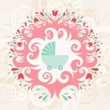 Поздравительая открытка ко дню рождения младенца Иллюстрация штока