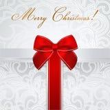 Поздравительая открытка ко дню рождения праздника/рождества/. Коробка подарка, смычок Стоковая Фотография