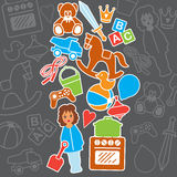 Поздравительая открытка ко дню рождения сувенирного магазина игрушек детей, иллюстрация вектора Стоковое Изображение RF