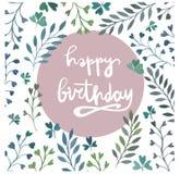 поздравительая открытка ко дню рождения счастливая самана коррекций высокая картины photoshop качества развертки акварель очень Л Стоковое Изображение RF