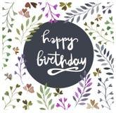 поздравительая открытка ко дню рождения счастливая самана коррекций высокая картины photoshop качества развертки акварель очень Л Стоковая Фотография