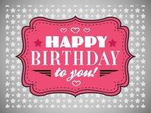 поздравительая открытка ко дню рождения счастливая Typography помечает буквами тип купели иллюстрация вектора