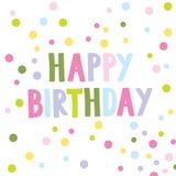 Поздравительая открытка ко дню рождения с красочными точками польки Стоковое Изображение
