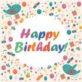 Поздравительая открытка ко дню рождения с милыми птицами, цветками и воздушными шарами, подарками мороженого иллюстрация штока