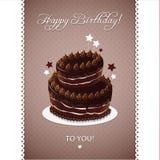 Поздравительая открытка ко дню рождения с днем рождений в ретро стиле иллюстрация штока
