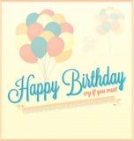 Поздравительая открытка ко дню рождения с днем рождений с воздушными шарами бесплатная иллюстрация
