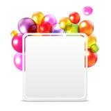Поздравительая открытка ко дню рождения с днем рождений с воздушными шарами цвета