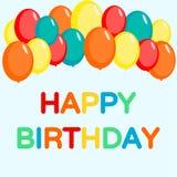 Поздравительая открытка ко дню рождения с днем рождений с воздушным шаром иллюстрация штока