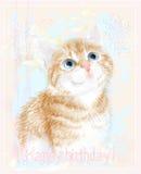 Поздравительая открытка ко дню рождения с днем рождений с маленьким котенком Стоковая Фотография