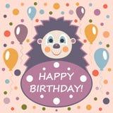 Поздравительая открытка ко дню рождения с днем рождений с милой иллюстрацией ежа Стоковая Фотография RF