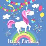 Поздравительая открытка ко дню рождения с днем рождений с милым единорогом лавр граници покидает вектор шаблона тесемок дуба иллюстрация штока