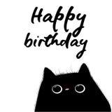 Поздравительая открытка ко дню рождения с днем рождений с черным котом иллюстрация штока